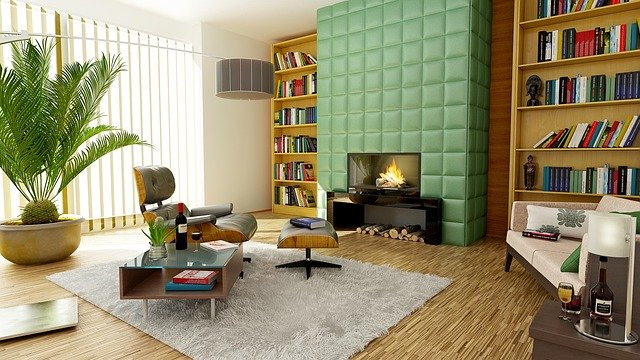 Krb v izbe so zeleným moderným obkladom