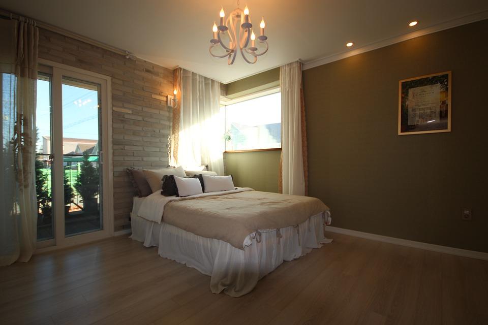 spálna, interiér, posteľ
